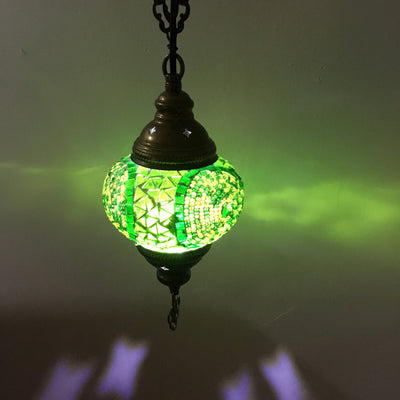 Turkish Handmade Mosaic  Hanging Lamp, medium globe - TurkishLights.NET