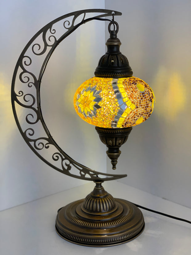 Crescent Shape Mosaic  Table Lamp with Large Globe