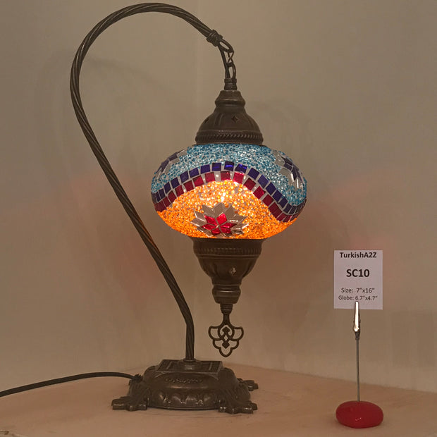 SWAN NECK MOSAIC TABLE LAMP, LARGE GLOBE , SC01 TO SC20 - TurkishLights.NET