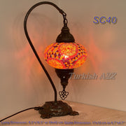 SWAN NECK MOSAIC TABLE LAMP, LARGE GLOBE , SC21 TO SC40 - TurkishLights.NET