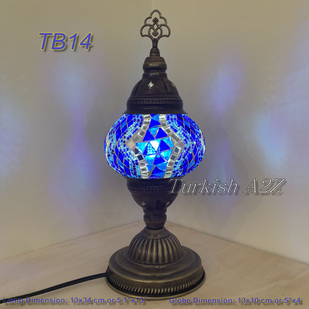 TURKISH MOSAIC TABLE LAMP,  MEDIUM GLOBE , TB10 -TB18 - TurkishLights.NET