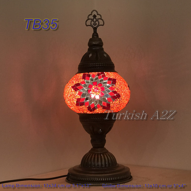 TURKISH MOSAIC TABLE LAMP,  MEDIUM GLOBE TB28 - TB36 - TurkishLights.NET