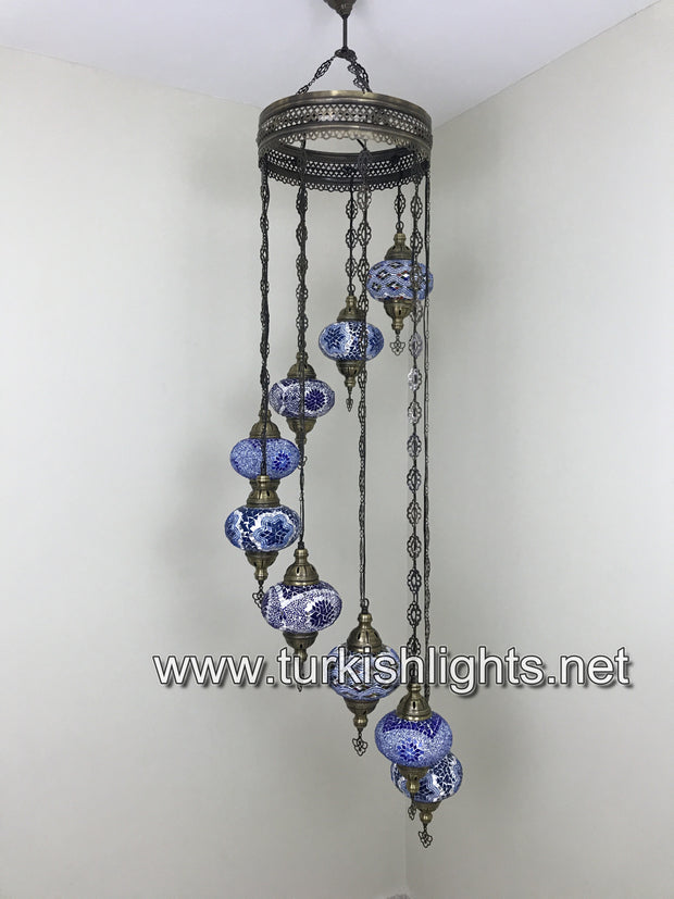 9-BALL TURKISH  MOSAIC CHANDELIER WITH LARGE GLOBES, BLUE MIX - TurkishLights.NET