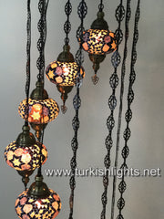 9-BALL TURKISH  MOSAIC CHANDELIER WITH LARGE GLOBES, BROWN - TurkishLights.NET