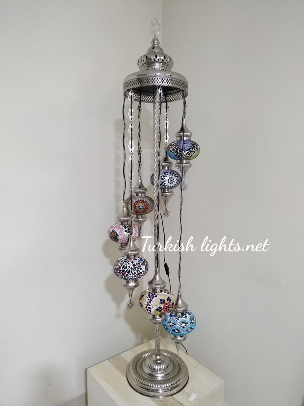 FLOOR LAMP WITH  7 LARGE GLOBES and CHROME FINISH ,ID:131 - TurkishLights.NET