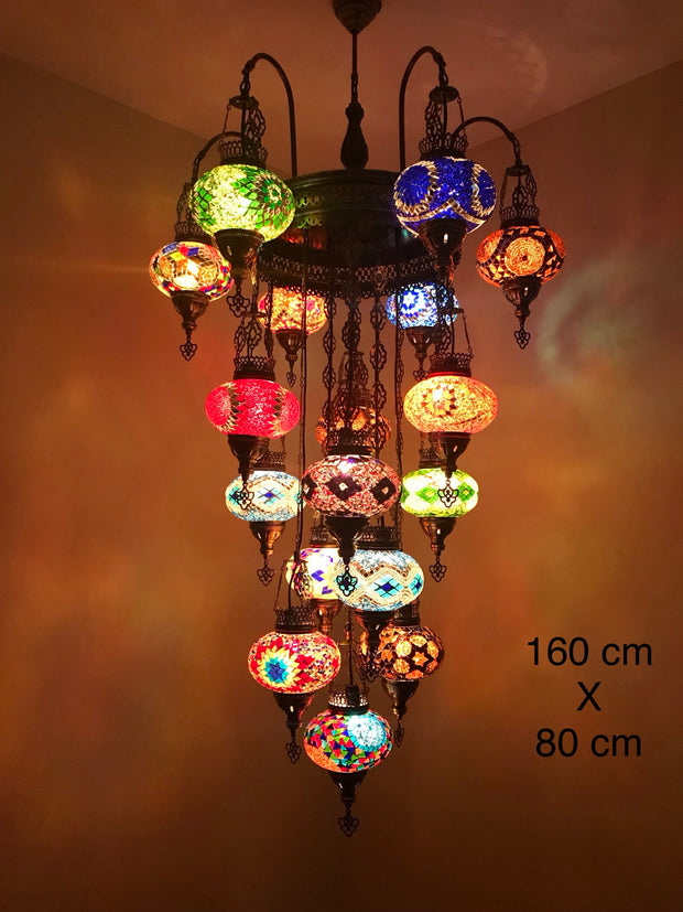 17 Globe Arched Mosaic Chandelier, FREE SHIPPING - TurkishLights.NET