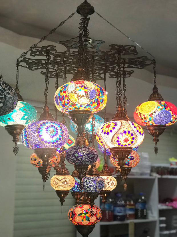 CUSTOM A-  TURKISH SULTAN MOSAIC CHANDELIER 17 Globes, FREE SHIPPING - TurkishLights.NET