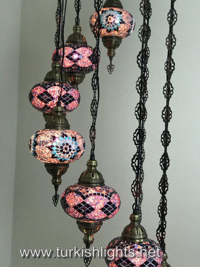 9-BALL TURKISH  MOSAIC CHANDELIER WITH LARGE GLOBES, PURPLE - TurkishLights.NET