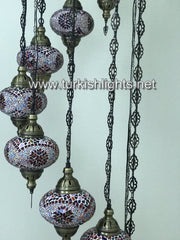 9-BALL TURKISH  MOSAIC CHANDELIER WITH LARGE GLOBES, RED - TurkishLights.NET