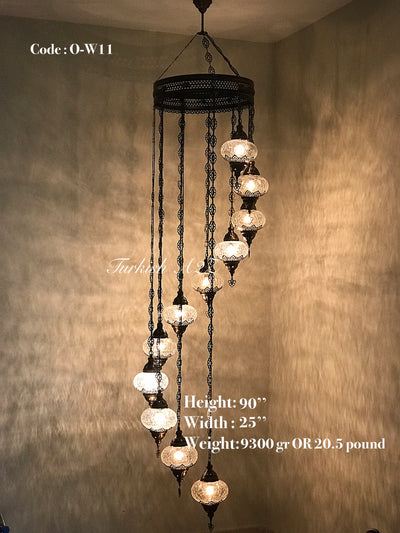 Ottoman Chandelier with 11 Cracked Globes (water drop model) , ID:147 - TurkishLights.NET