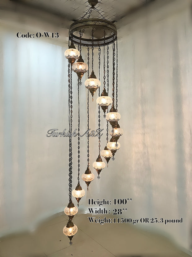 Ottoman Chandelier with 13 Cracked Globes (water drop model) , ID:147 - TurkishLights.NET