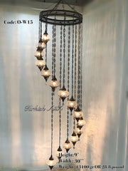 Ottoman Chandelier with 15 Cracked Globes (water drop model) , ID:147 - TurkishLights.NET