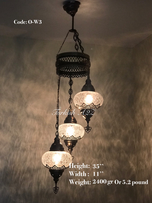 Ottoman Chandelier with 3 Cracked Globes (water drop model) , ID:147 - TurkishLights.NET