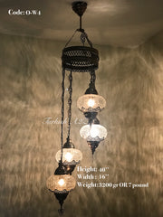 Ottoman Chandelier with 4 Cracked Globes (water drop model) , ID:147 - TurkishLights.NET