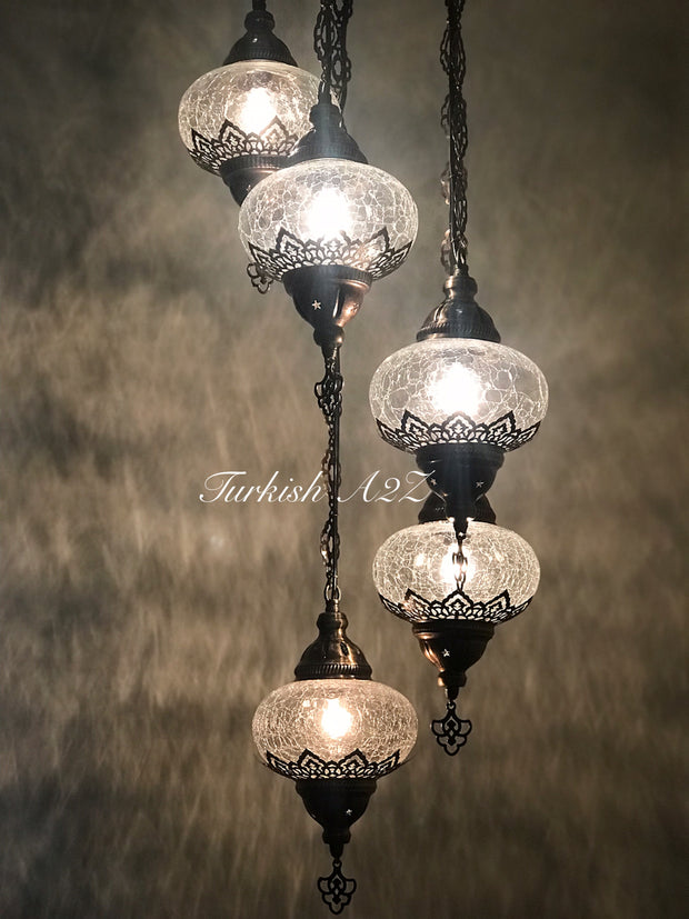Ottoman Chandelier with 5 Cracked Globes (water drop model) , ID:147 - TurkishLights.NET