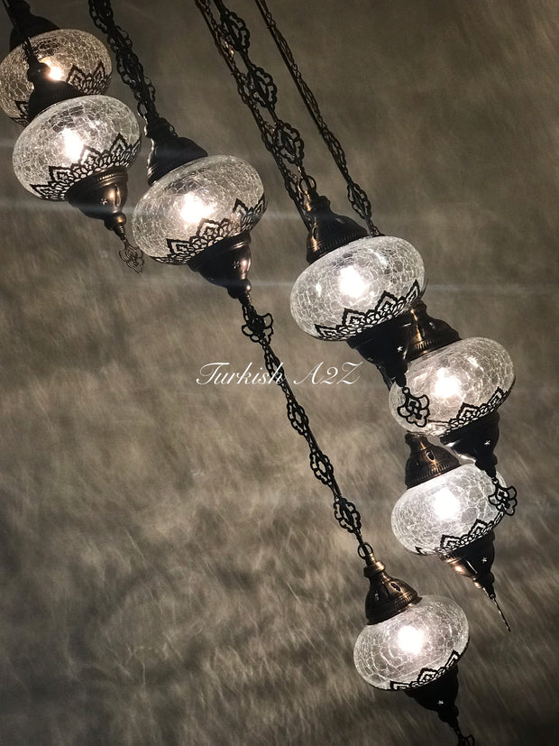 Ottoman Chandelier with 7 Cracked Globes (water drop model) , ID:147 - TurkishLights.NET