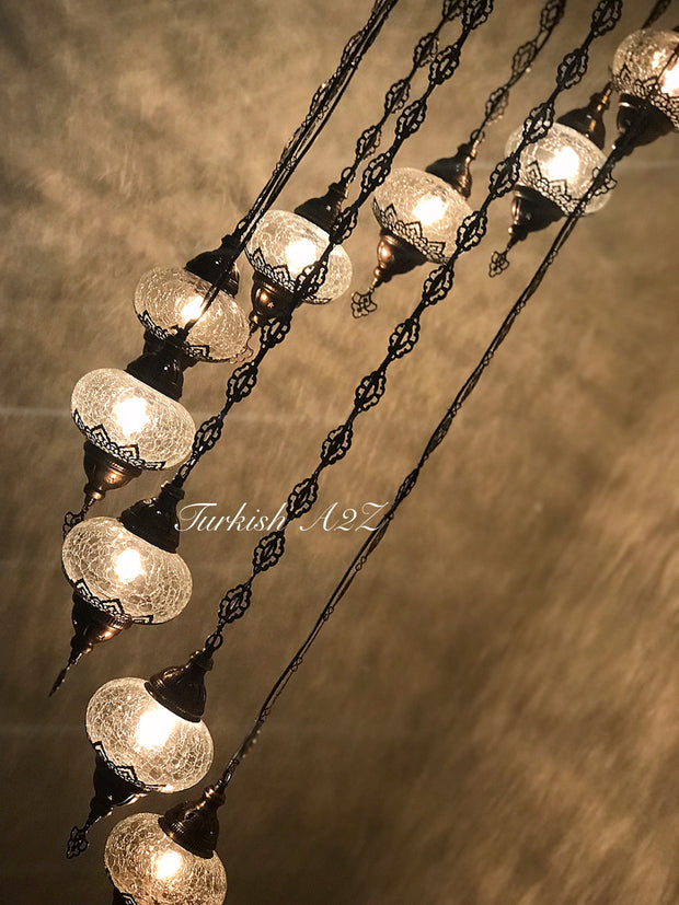 Ottoman Chandelier with 9 Cracked Globes (water drop model) , ID:147 - TurkishLights.NET