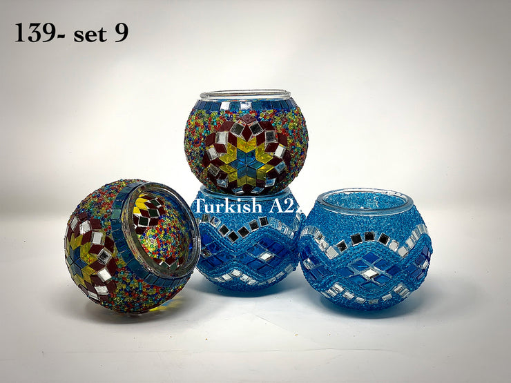 Set Of 4 Turkish Mosaic Candle Holders,ID: 139-09 - TurkishLights.NET