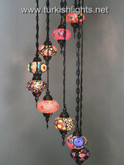 9-BALL TURKISH  MOSAIC CHANDELIER WITH LARGE GLOBES, SOFT MIX - TurkishLights.NET
