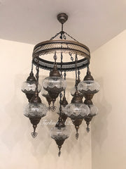 Chandelier with 11 Cracked Globes (Sultan model) , ID:148 - TurkishLights.NET