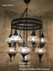Chandelier with 13 Cracked Globes (Sultan model) , ID:148 - TurkishLights.NET