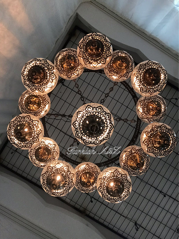Chandelier with 15 Cracked Globes (Sultan model) , ID:148 - TurkishLights.NET