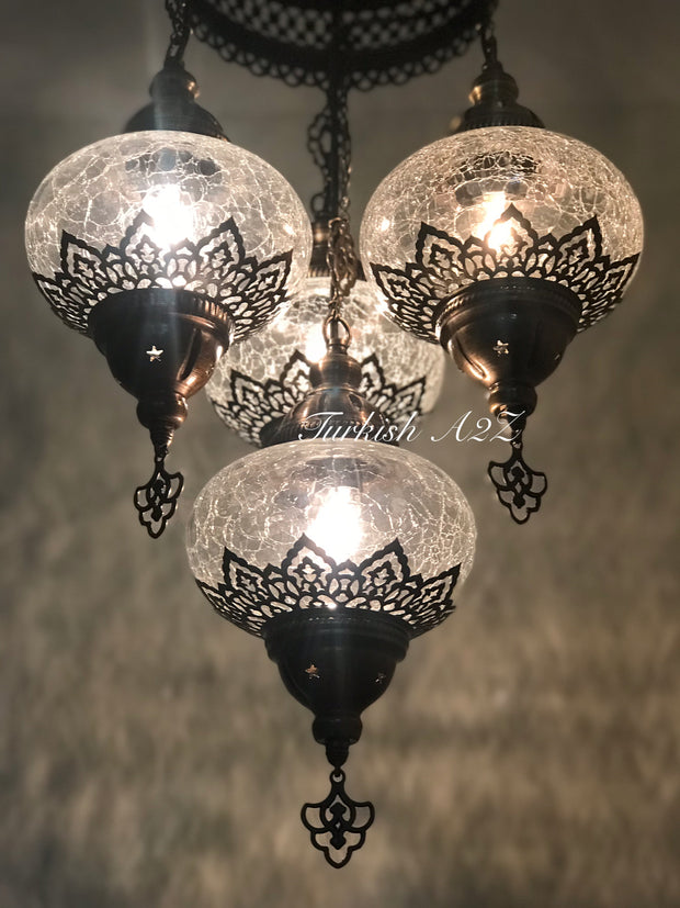 Chandelier with 4 Cracked Globes (Sultan model) , ID:148 - TurkishLights.NET