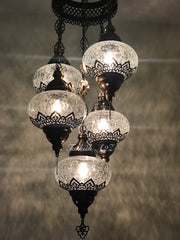 Chandelier with 5 Cracked Globes (Sultan model) , ID:148 - TurkishLights.NET