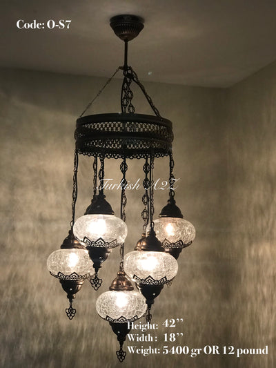 Chandelier with 7 Cracked Globes (Sultan model) , ID:148 - TurkishLights.NET
