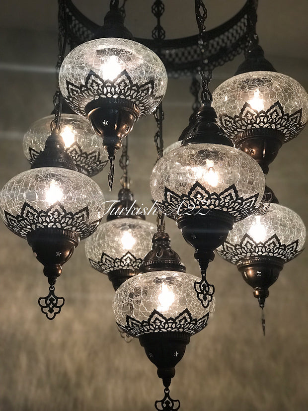 Chandelier with 9 Cracked Globes (Sultan model) , ID:148 - TurkishLights.NET
