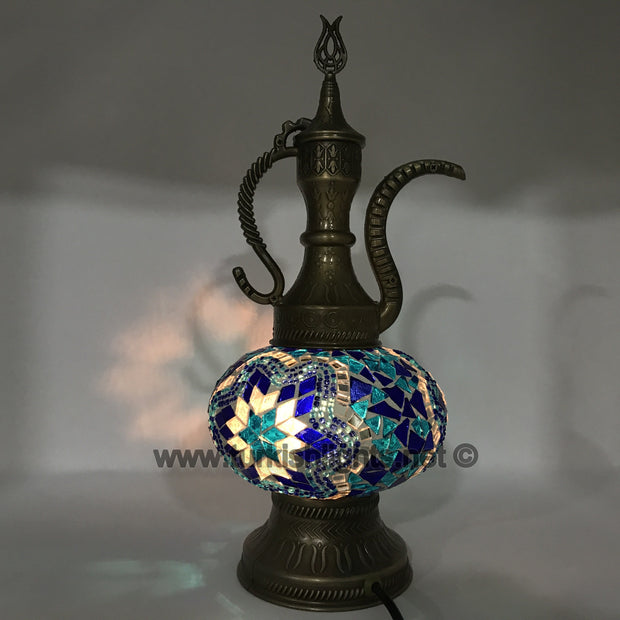 MOSAIC TABLE LAMP, PITCHER (IBRIK) - LARGE GLOBE - TurkishLights.NET