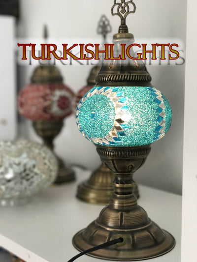 MOSAIC TABLE LAMP ,TURQUOISE, SPECIAL COLOR - TurkishLights.NET
