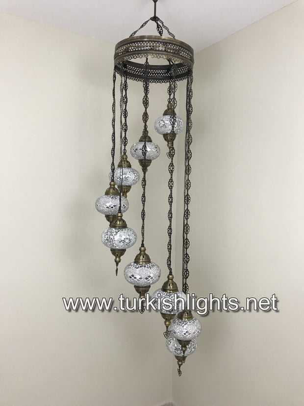 9-BALL TURKISH  MOSAIC CHANDELIER WITH LARGE GLOBES, WHITE - TurkishLights.NET