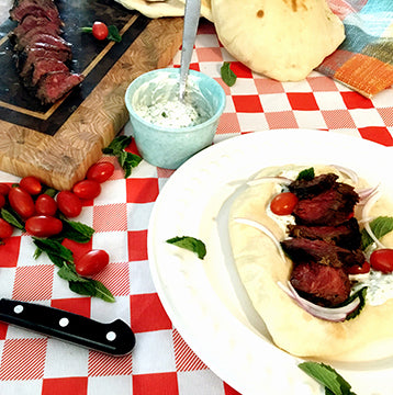 Grilled Wagyu Beef Hanger Steak Marinated in Spiced Greek Yogurt Sauce