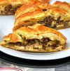Wagyu Hot Italian Sausage, Mushroom, and Leek Puff Pastry Braid