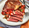 Pan Seared Fullblood Wagyu Bone-In Strip Steak with Tomato and Shallot Pan Sauce