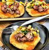 Grilled Fullblood Wagyu Top Round Steak with Salsa and Cheese Pupusas