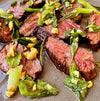 Seared Wagyu Hanger Steak with Charred Scallion Salsa