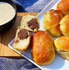 Wagyu Bratwurst Pretzel Bombs with Cheese Sauce
