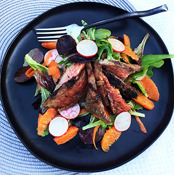 Orange Ginger Miso Marinated Wagyu Rib Lifter Salad