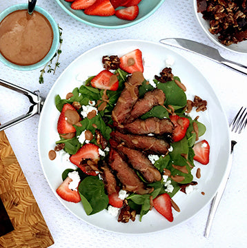 Wagyu Beef Strip Steak and Strawberry Spinach Salad