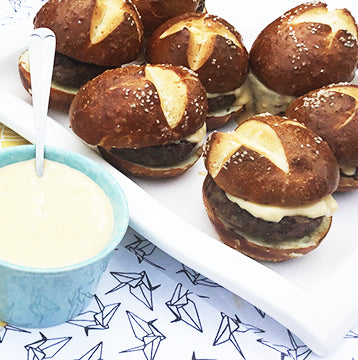Wagyu Beef Sliders, Beer Cheese on Pretzel Bun