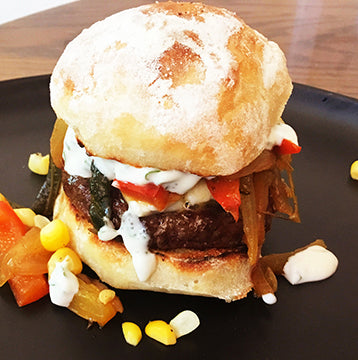 Wagyu Beef Fajita Slider Patties with Queso Fresco and Grilled Peppers