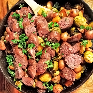 Wagyu Beef Cajun Sausage and Potato Skillet