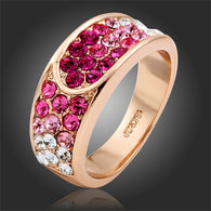 Famous Design  Rose Gold Plated Cluster Hot Pink Rose Rhinestones Crystals Ring for Women Finger Luxury Jewelry Bague 2015 - Kwik Selections