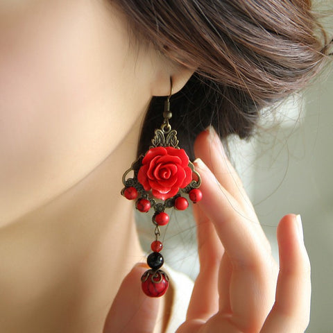 Women Original Chinese style Retro Red Rose Earring