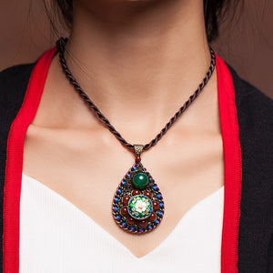 Retro cloisonne flower agate drop short chain clavicle necklace - cultureincart.com