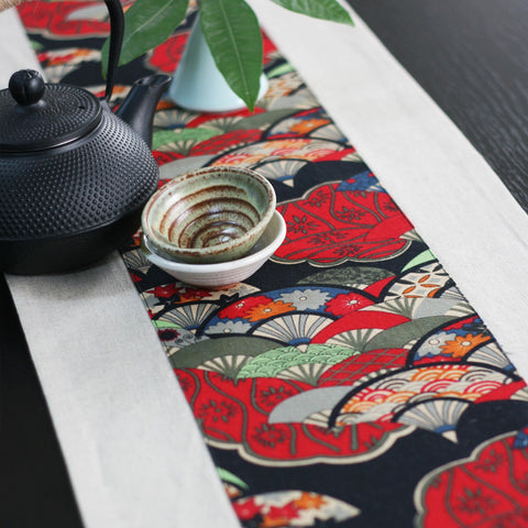 Classical fan printed fabric linens tablecloth