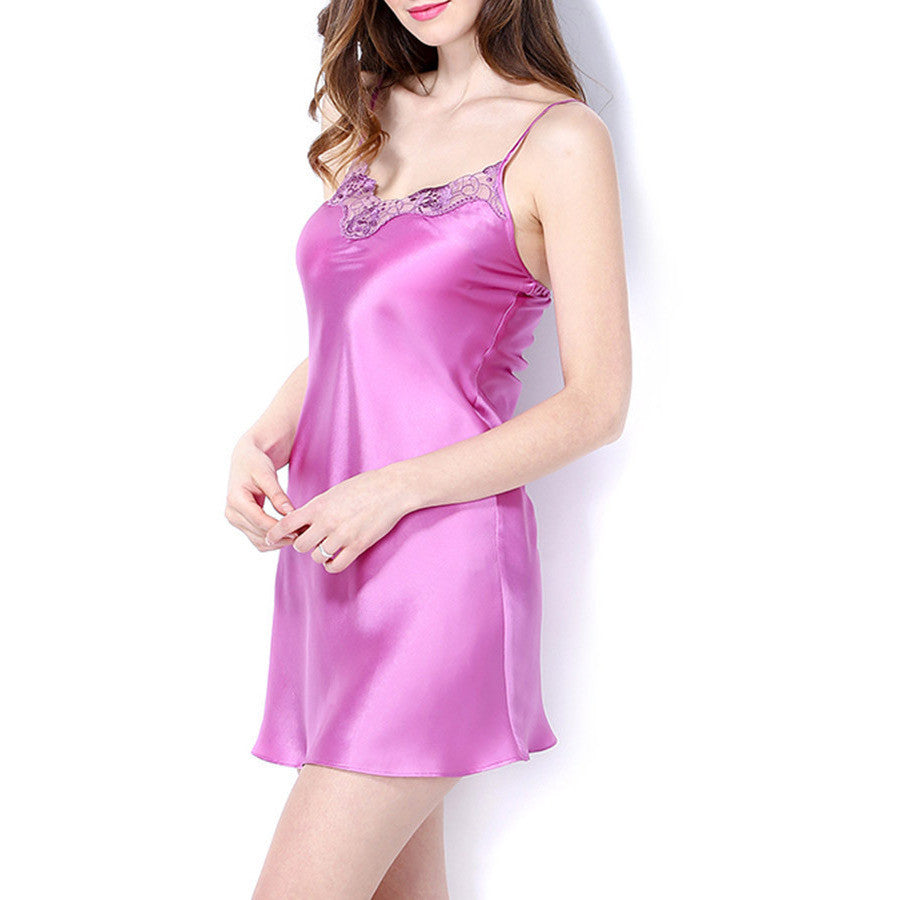 Pure color natural silk lace strapless nightgown dress