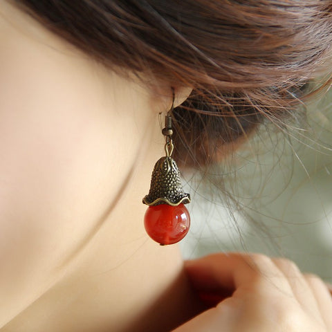 Handmade retro minimalist OL short flower red agate earrings